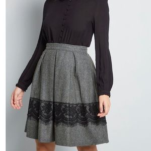 ModCloth Grey Whirl Record A-Line Skirt Lace Trim